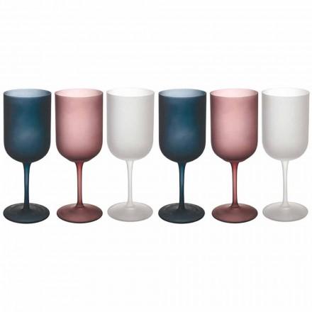 Gekleurde Grind Effect Matglazen Wijnglazen, 12 Stuks - Herfst