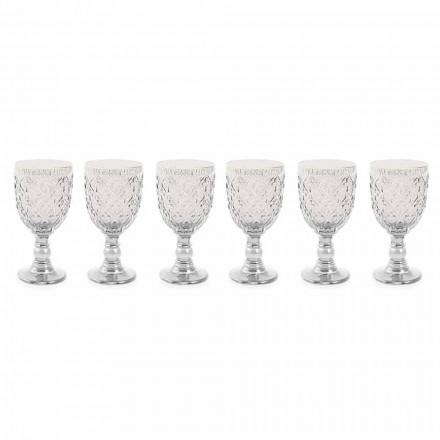 Wijnglazen van transparant glas met Arabesque decoratie 12 stuks - Marokko