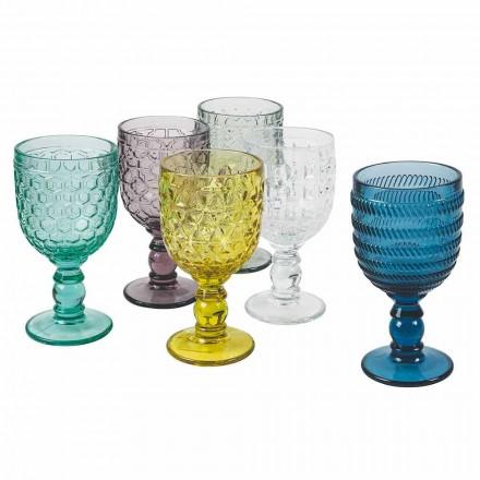 Gekleurd Glas Versierde Bekers Water- of Wijnservies 12 Stuks - Mix