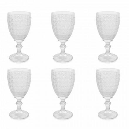 Wijnglazen in transparant glas en reliëfdecoraties, 12 stuks - Aperi