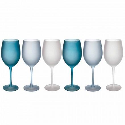 Gekleurde wijnglazen in matglas met ijseffect, 12 stuks - herfst