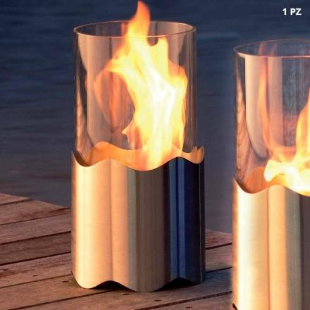 Open haard Bioethanol uit roestvrij staal en glas tafel Leon