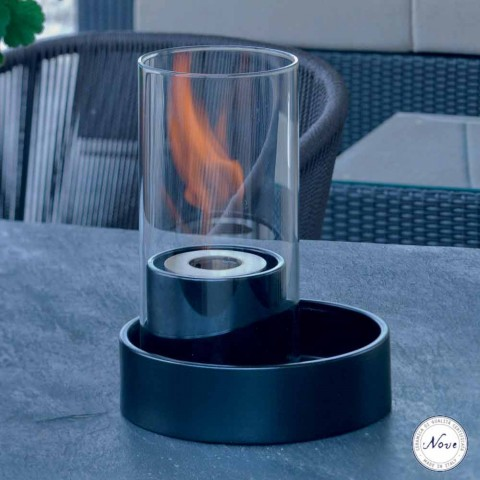 Open haard keramiek en glas tafel bioethanol Jim, made in Italy