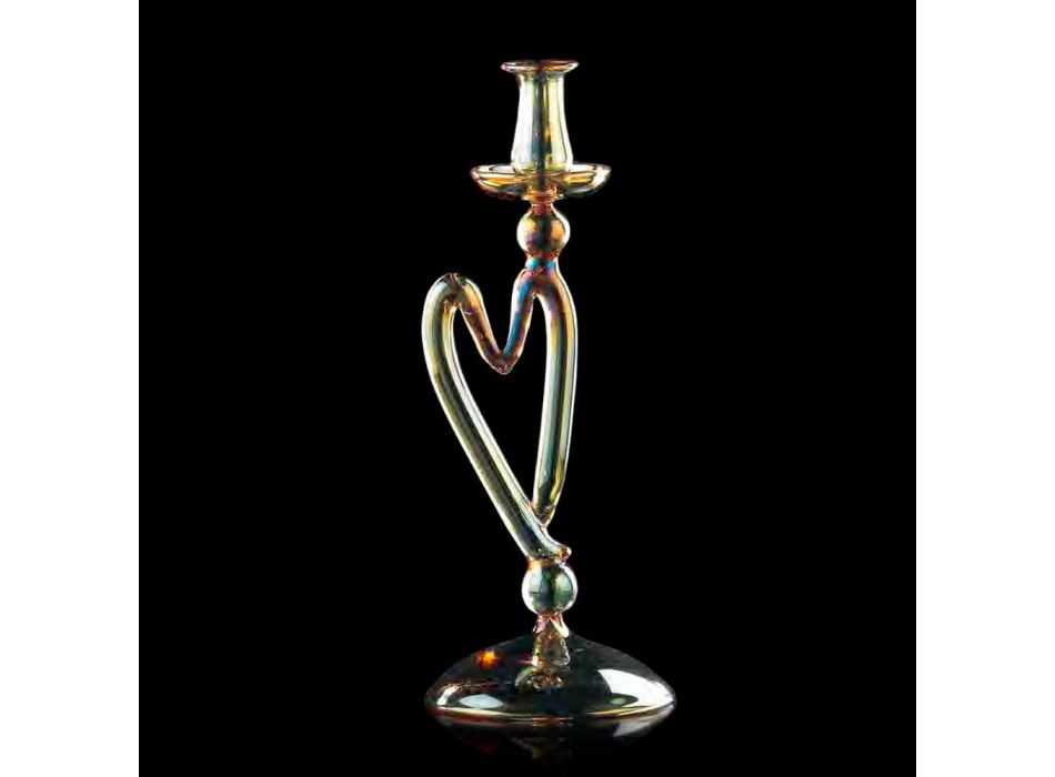 Murano Glass Candelabra Amber Color 1 Flame Made in Italy - Nunzia