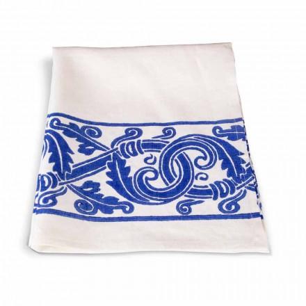 Italiaanse handgemaakte linnen vaatdoek met handgedrukte tekening