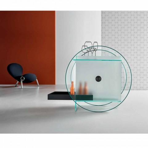 Barwagen van extra helder glas met wielen en uittrekbare lade - Pigolo