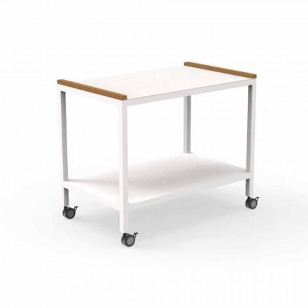 Trolley voor buitenkeuken in aluminium en teak 2 planken - Kar van Talenti