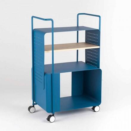 Design trolley van staal met essenblad Made in Italy - Murella
