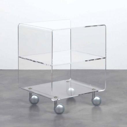 Multiuse trolley in transparante methacrylaat 4 vakken en wielen Rob