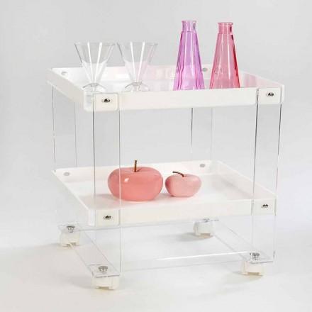 Ontwerp food-trolley met 2 planken in plexiglas, Diso
