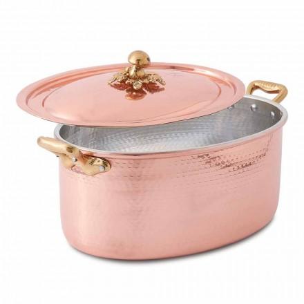 Ovale handvertinde koperen braadpan voor oven en deksel 37x26 cm - Mariag