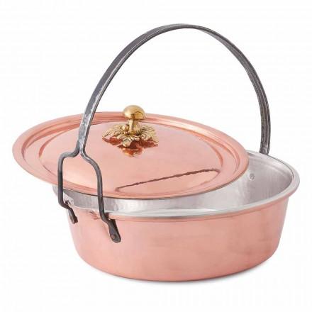 Handvertinde koperen braadpan, deksel en gebogen handvat 34 cm - MariaG