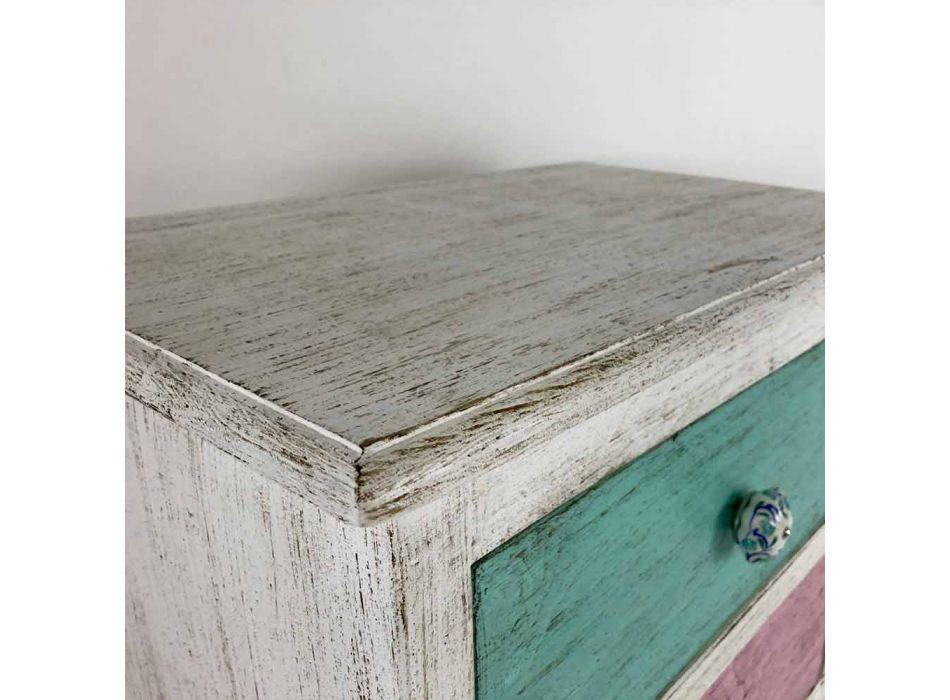 Ambachtelijke ladekast met 4 laden in wit hout Made in Italy - Manhattan