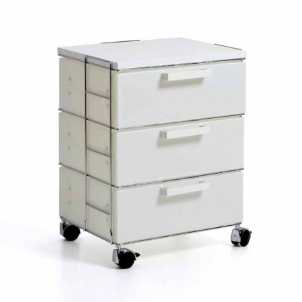 Moderne witte Chest met 3 laden en top in MDF Valerie