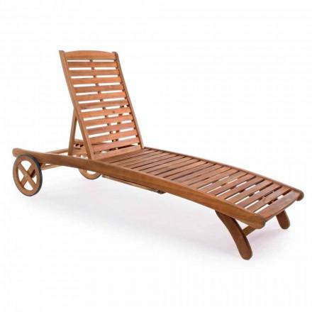 Tuinchaise longue in hout met designwielen voor buiten - Roxen