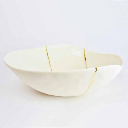 Kommen in wit porselein en Italiaans luxe design met bladgoud - Cicatroro