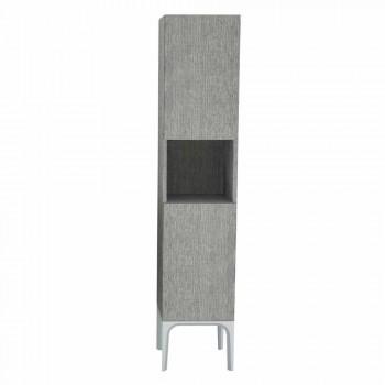 Badkamerzuil met 2 deuren in modern design eco-hout Ambra, made in Italy