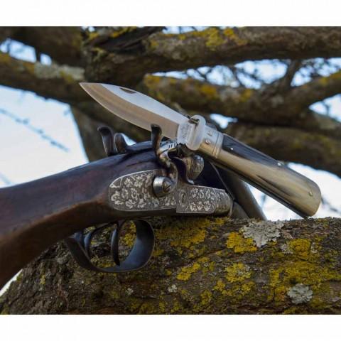 Antiek knutselmes met hoorn of houten handvat gemaakt in Italië - Mugello