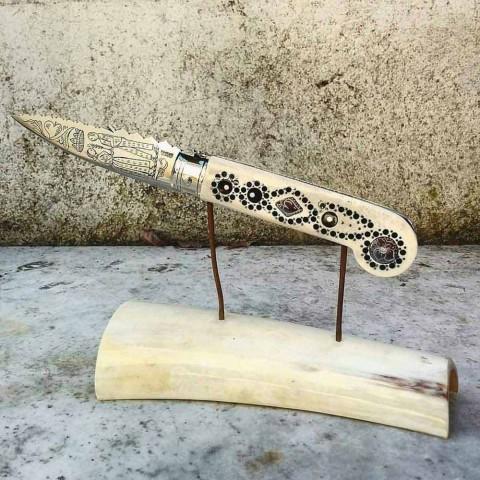 Antiek handgemaakt liefdesmes in hoorn en staal, gemaakt in Italië - Amour