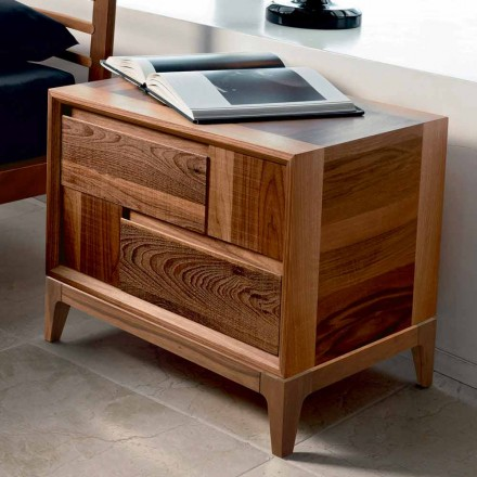 Dresser 2 houten laden modern design massief notenhout, Nino