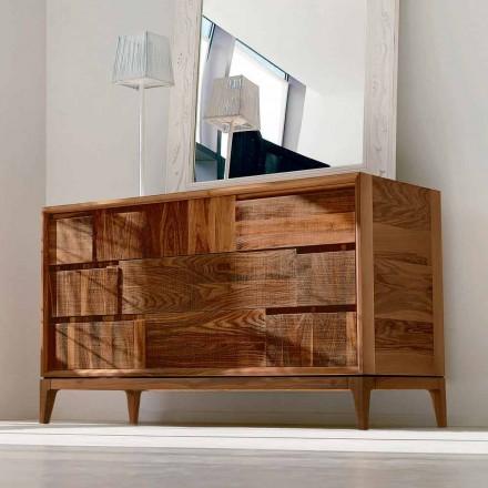 Dresser 3 laden modern design in massief notenhout, Nino