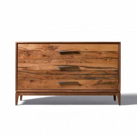 Dresser 3 laden walnoot modern design, L 131 x B 55 x H 80 cm, Sandro
