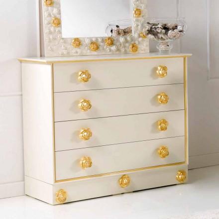 Dresser 4 laden te ontwerpen met houten knoppen in de vorm van rozen Renoir