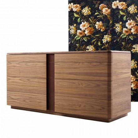 Massief houten dressoir en Grilli York-designleer gemaakt in Italië