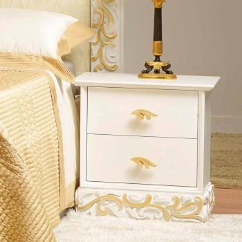 Bedside 2 houten laden met Kush gouden versieringen, made in Italy