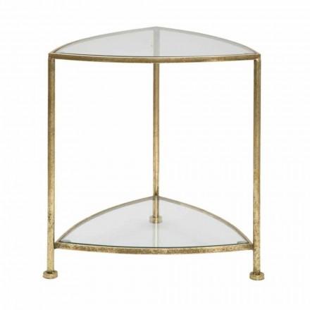 Modern design driehoekig nachtkastje met 2 planken in ijzer en glas - Kira