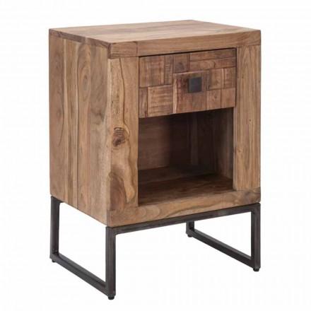 Design nachtkastje met lade in acaciahout en ijzer - Dionne