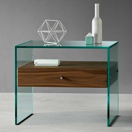 Modern design bijzettafel in extrahelder glas gemaakt in Italië - Segreto