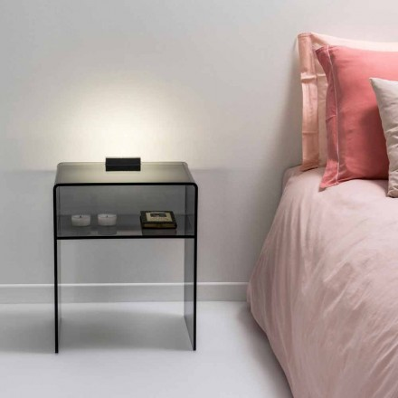 gerookte bed met LED-licht verlicht Tocco Adelia, made in Italy