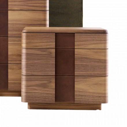 Massief houten nachtkastje van modern design Grilli York gemaakt in Italië