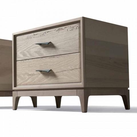 Hedendaagse nachtkastje 2 laden antieke eiken, PL 60 x 42 cm, Margo