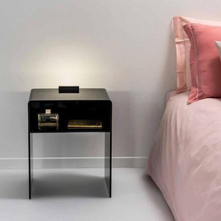 Zwarte nachtkastje met LED-licht verlicht om Tocco Adelia, made in Italy