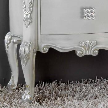 Bedside klassieke massief hout, handvatten Bone Crystal
