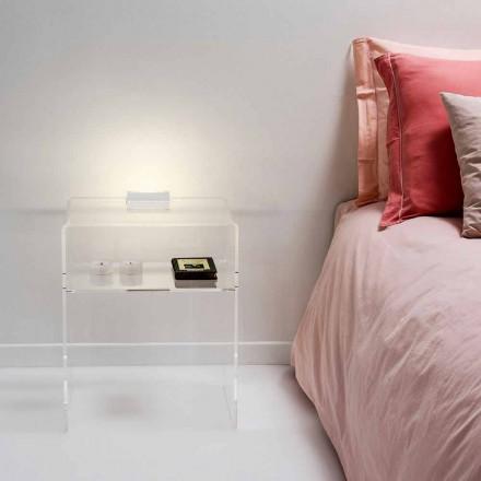 Nachtkastje met transparante LED-licht verlicht aanraking Adelia