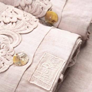 Armonia 2-kleurenset van licht linnen en kant voor tweepersoonsbed - Dettox