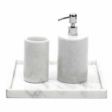 Samenstelling Badkameraccessoires in wit Carrara-marmer Gemaakt in Italië - Tuono