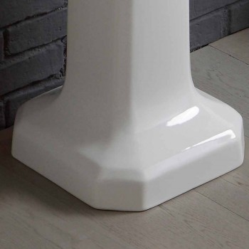 Samenstelling van de wastafel in wit keramiek kolom Ania