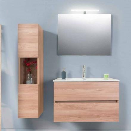 Badkamermeubel 90 cm, Wah-wastafel, spiegel en kolom - Becky