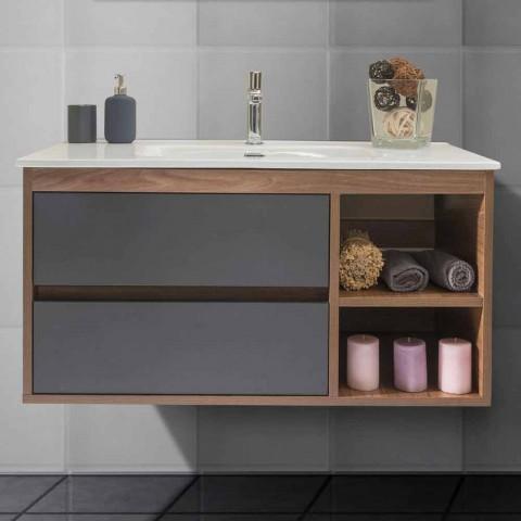 Moderne zwevende badkamersamenstelling in melamine en MDF - Becky