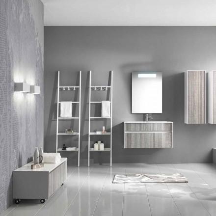 Hangende badkamersamenstelling Modern designmeubilair Wit en hout - Rossana