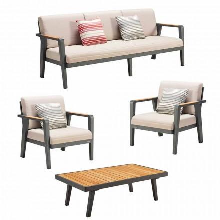 Compositie voor buiten 3-zitsbank, 2 fauteuils en salontafel - Moira