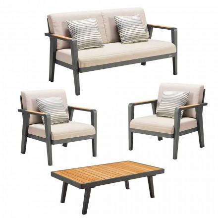 Tuinsamenstelling 2-zitsbank, 2 fauteuils en salontafel - Moira