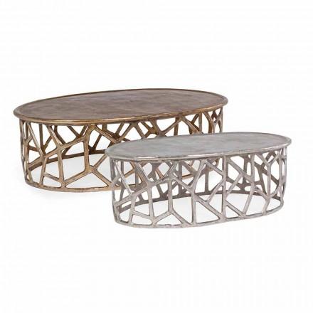 Samenstelling van 2 Homemotion aluminium salontafels - Solomon