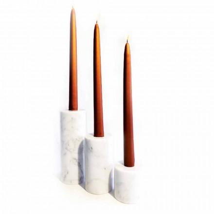 Samenstelling van 3 kandelaars in wit Carrara-marmer Made in Italy - Astol
