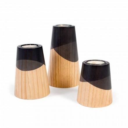 Samenstelling van 3 moderne kandelaars in massief grenenhout - wit