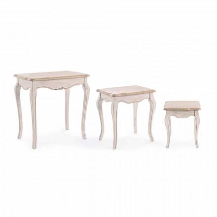 Samenstelling van 3 klassieke houten salontafels Homemotion - Classic